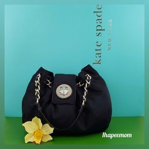 Kate Spade Black Nylon Hobo Bag Gold Chain Straps